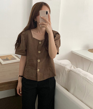 square button blouse (2color)